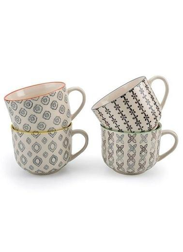 Warm Design 4'lü Handmade Fincan Seti Renkli